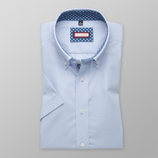 Men slim fit shirt with short sleeve (height 176-182) 7820 in blue color with adjusting easy motorcy