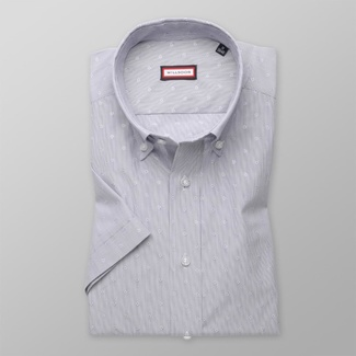 Men slim fit shirt with short sleeve (height 176-182) 7822 with strips a adjusting easy care
