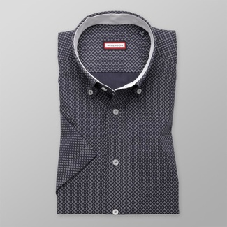 Men slim fit shirt with short sleeve (height 176-182) 7826 in blue color with adjusting easy motorcy
