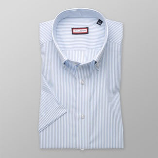 Men slim fit shirt with short sleeve (height 176-182) 7829 with strips a adjusting easy care
