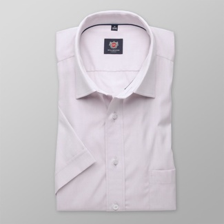 Men classic shirt with short sleeve London (height 176-182) 7841 in violet color with adjusting 2W