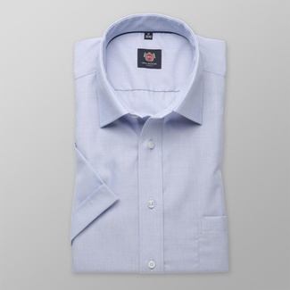 Men slim fit shirt with short sleeve London (height 176-182) 7844 in blue color with adjusting 2W Pl