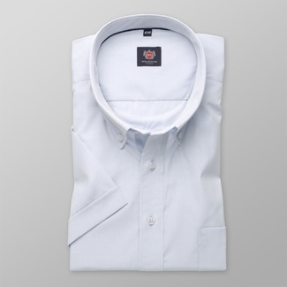 Men classic shirt with short sleeve London (height 176-182) 7846 in blue color with adjusting 2W P