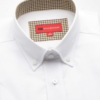 Men slim fit shirt with short sleeve (height 176/182) 784 in white color