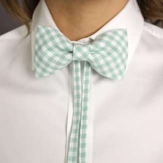 Women's butterfly Willsoor 7871 with white-green checked 'gingham', Willsoor