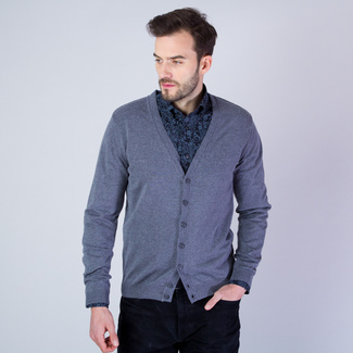 Men sweater type cardigan Willsoor (size to 5XL) 7881 in gray color