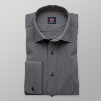 Men slim fit shirt London (height 176-182) 7914 in graphite color with adjusting easy care