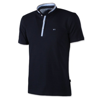 Men classic polo t-shirt Willsoor 7944 in dark blue color