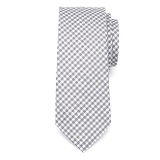 Men narrow tie of microfiber (pattern 1267) 7972 with white-gray checked, Willsoor
