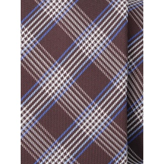 Men narrow tie (pattern 1268) 7973 in brown color with checked, Willsoor