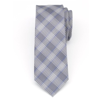 Men narrow tie (pattern 1269) 7974 in gray color with checked, Willsoor