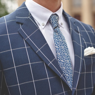 Men narrow tie (pattern 1272) 7977 in blue color, Willsoor