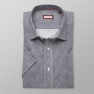 Men slim fit shirt with short sleeve (height 176-182) 8011 with dark blue checked pattern