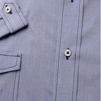 Men slim fit shirt with short sleeve (height 176-182) 8033 in blue color