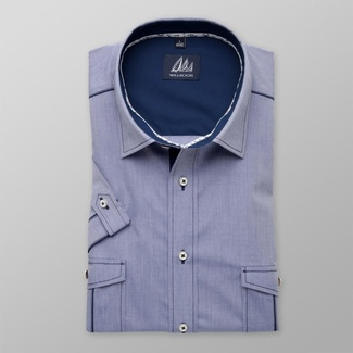 Men classic shirt with short sleeve (height 176-182) 8034 in blue color