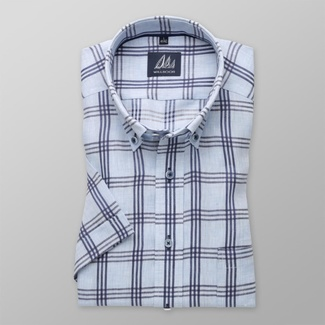 Men slim fit shirt with short sleeve (height 176-182) 8071 in blue color with checked