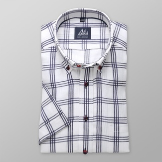 Men slim fit shirt with short sleeve (height 176-182) 8073 in white color