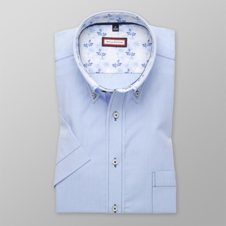 Men classic shirt with short sleeve (height 176-182) 8095 in blue color with adjusting easy care