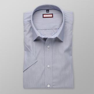 Men slim fit shirt with short sleeve (height 176-182) 8101 in gray color with adjusting easy care