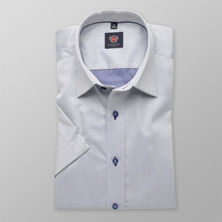 Men slim fit shirt with short sleeve (height 176-182) 8107 in gray color with adjusting easy care