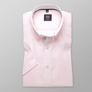 Men slim fit shirt with short sleeve (height 176-182) 8109 checked a adjusting easy care