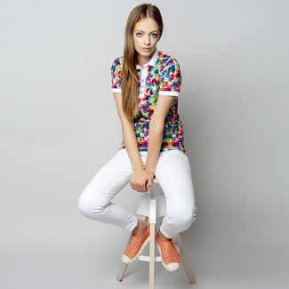 Women polo t-shirt 8119 with color geometric pattern