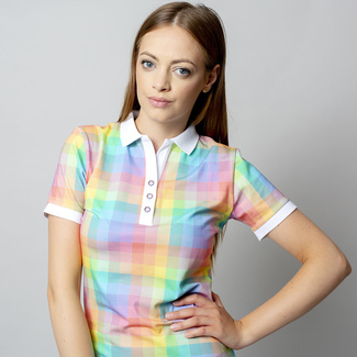Women polo t-shirt 8120 with coloured checked