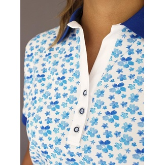 Women polo t-shirt 8123 in white color with pattern flowers, Willsoor