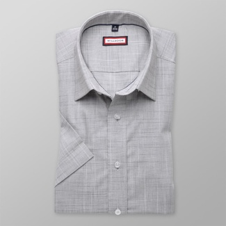 Men slim fit shirt with short sleeve (height 176-182) 8127 in gray color