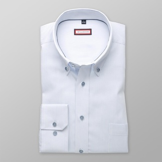 Men classic shirt (height 176-182) 8129 with strips in white a blue color