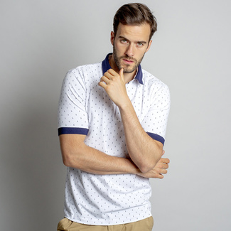 Men polo t-shirt Willsoor 8134 in white color with pattern anchor
