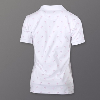 Women polo t-shirt 8135 in white color with flamingos, Willsoor
