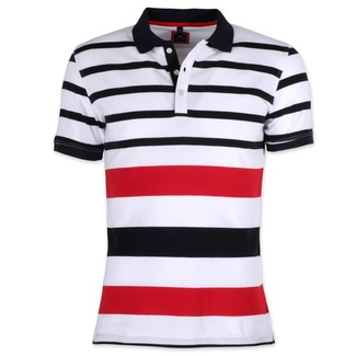Men polo t-shirt Willsoor 8141 in white color with coloured stripes