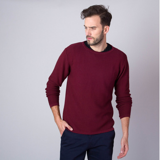 Men's thin pullover Willsoor 8230 in burgundy color