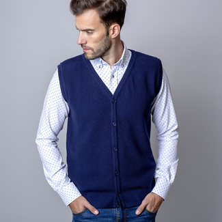 Men's Knitted Vest Willsoor 8237 in dark blue color