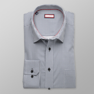 Men classic shirt (height 176-182) 8267 in white color with squares a dots