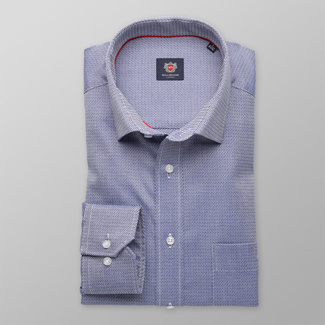 Men classic shirt London (height 176-182) 8276 in blue color with adjusting 2W Plus