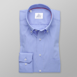 Men's light blue striped slim fit shirt (height 176-182) 8294