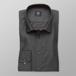 Men's grey slim fit shirt London (height 176-182) 8296 2-ply