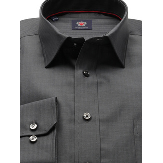 Men classic shirt London (height 176-182) 8297 in gray color with adjusting 2ply  2-ply