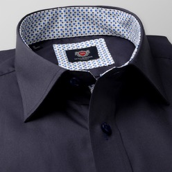 Men classic shirt London (all height) 8379 in dark blue color
