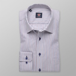 Men classic shirt (height 176-182) 8397 in white color with strips a adjusting easy care