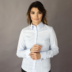 Women shirt Willsoor 8409 in white color with strips