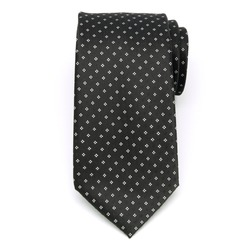 Men's black classic tie with white pattern (pattern 1304) 8459, Willsoor