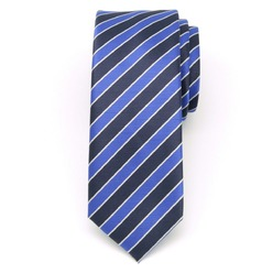 Men narrow tie (pattern 1311) 8466 in blue color with dark blue strips, Willsoor