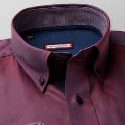 Men slim fit shirt (height 176-182) 8569 in burgundy color with adjusting easy care, Willsoor