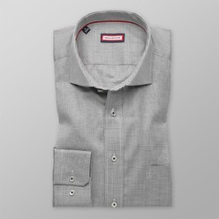 Men's gray classic shirt with micro pattern (height 176-182) 8631
