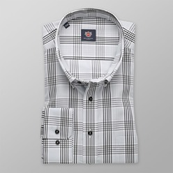 Men's grey check classic shirt London (height 176-182 I 188-194) 8634