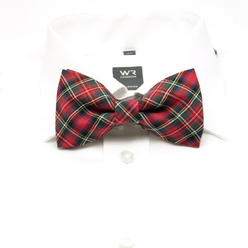 Men tied butterfly Willsoor 8659 in red coloured with coloured checked, Willsoor