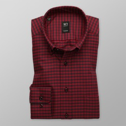 Men classic shirt London (height 176-182) 8662 in red color with checked